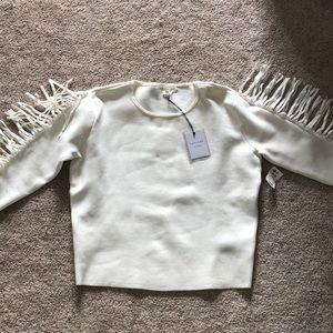 Akira white sweater with fringe detail
